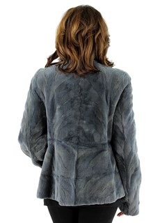 Woman's Steel Grey Sculptured Sheared Mink Fur Jacket