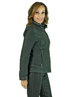 Woman's Black Peat Noir Leather Zipper Jacket
