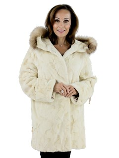 Woman's Gold and White Sheared Mink Hooded Fur Jacket