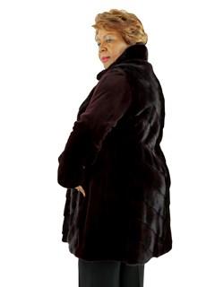 Gorski Woman's Burgundy Sheared Mink Fur Stroller
