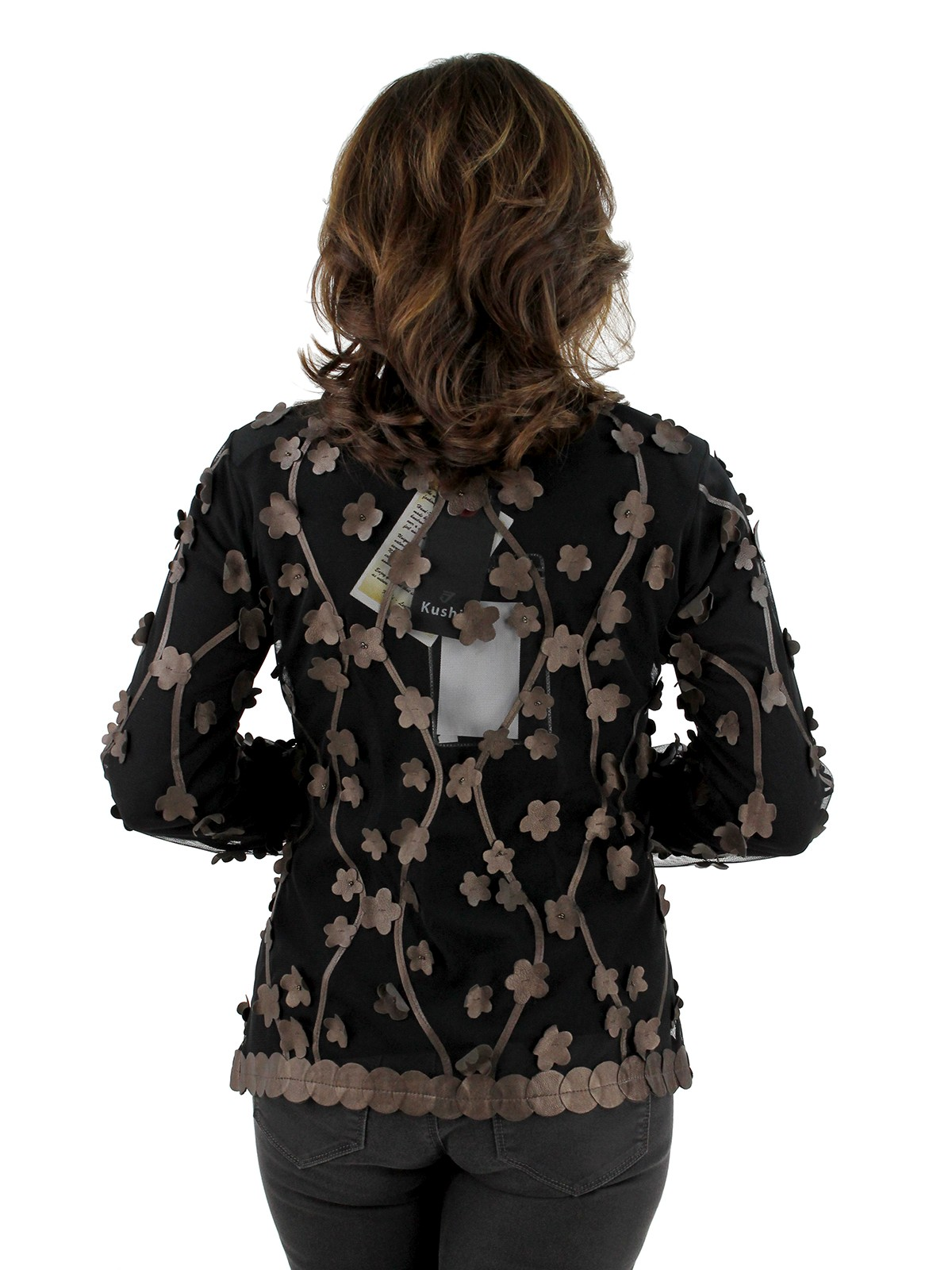 Bronze Floral Leather Inserts Mesh Jacket