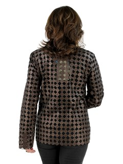 Woman's Bronze Leather Mesh Jacket