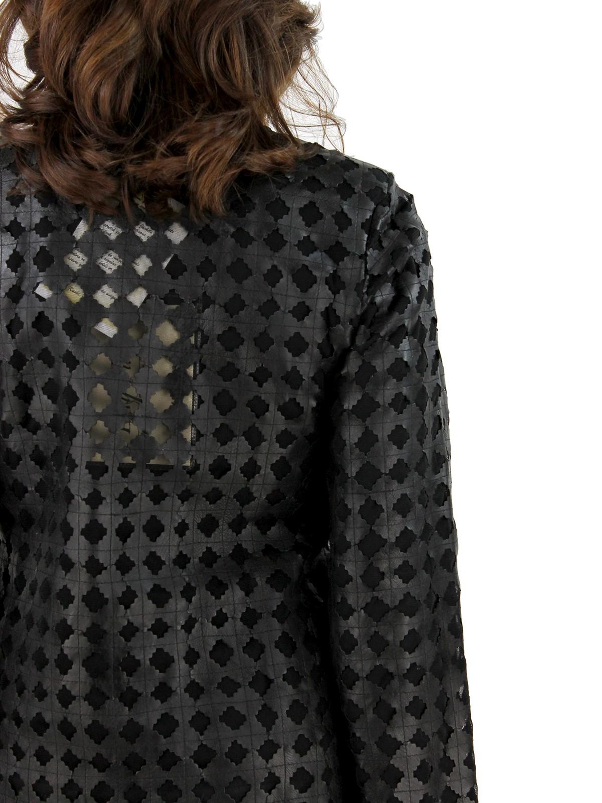 Black Leather Mesh Jacket