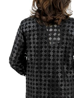 Woman's Black Leather Mesh Jacket