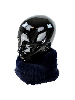 Woman's Navy Stretch Knit Rex Rabbit Fur Neck Warmer