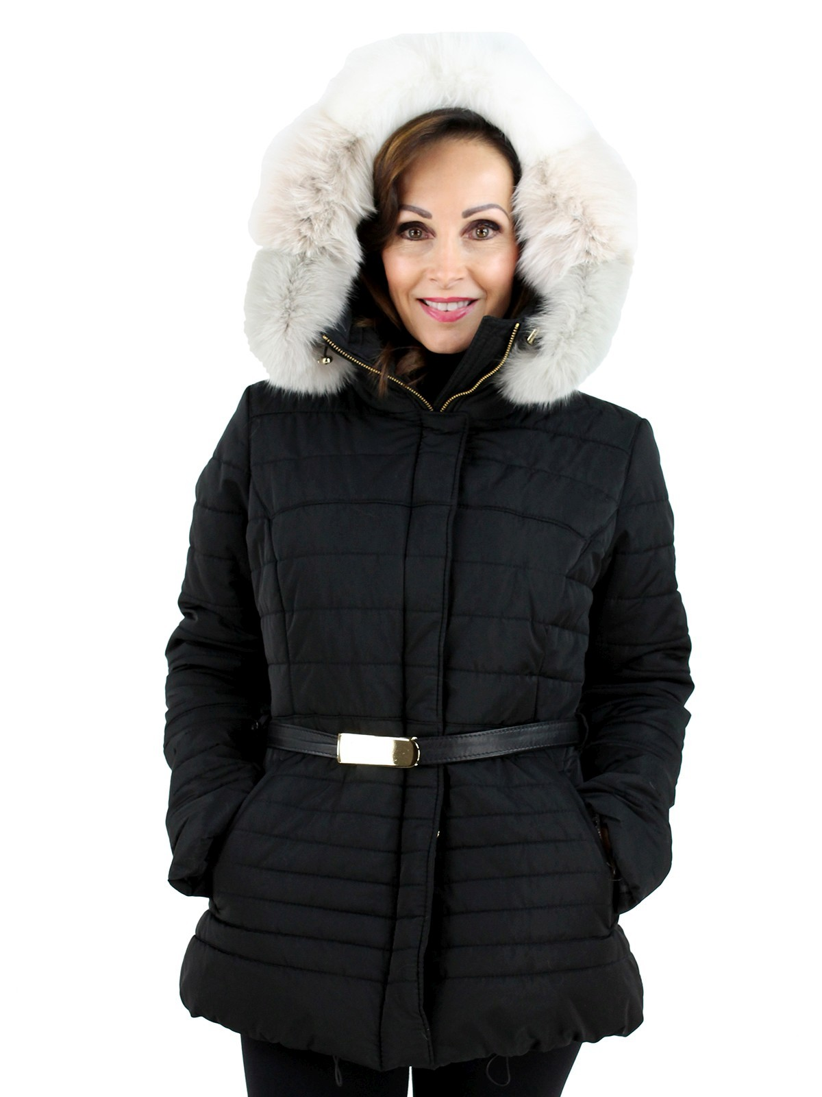 Gorski Woman's Black Quilted Fabric Apres-Ski Jacket with White Fox Trimmed Hood