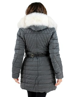 Gorski Woman's Smoke Apres-Ski Quilted Fabric Jacket with Fox Trimmed Hood