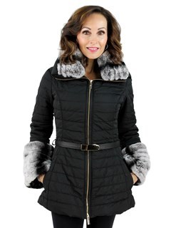 Gorski Woman's Black Apres-Ski Quilted Fabric Jacket with Rabbit Collar and Cuffs