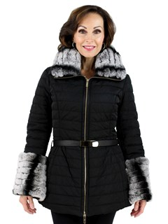 Gorski Woman's Black Apres-Ski Quilted FabricJacket with Rabbit Collar and Cuffs