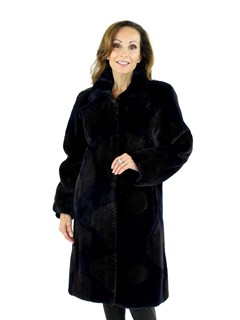 Woman's Navy Sheared Beaver Fur 7/8 Coat