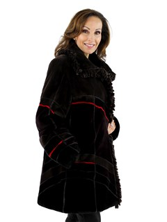 Woman's Multi Color Sheared Beaver Fur 7/8 Coat