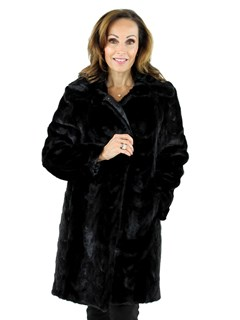 Gorski Woman's Black Mink Section Fur Stroller