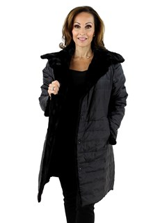 Gorski Woman's Black Mink Section Fur Stroller