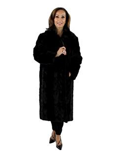 Gorski Woman's Black Mink Section Fur Short Coat