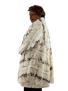 Woman's Beige and Tan Karakul and Sheared Mink Fur Stroller