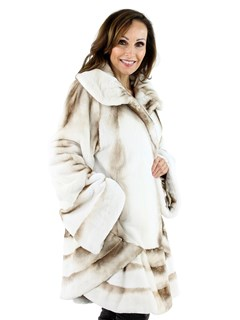 Woman's Gold and  White Semi-Sheared Mink Fur Swing Stroller