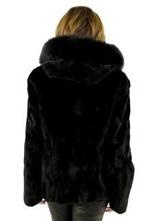 Woman's Black Sheared Mink Fur Parka