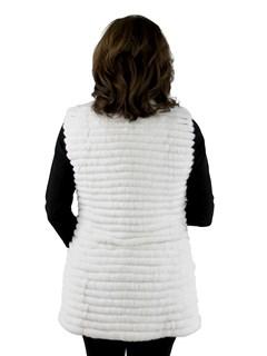Gorski Woman's White Rex Rabbit Layered Fur Vest
