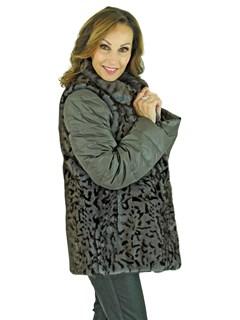 Woman's Grey Animal Print Mink Fur Vest Reversible to Grey Taffeta Plus Grey Down Filled Zipper Jacket