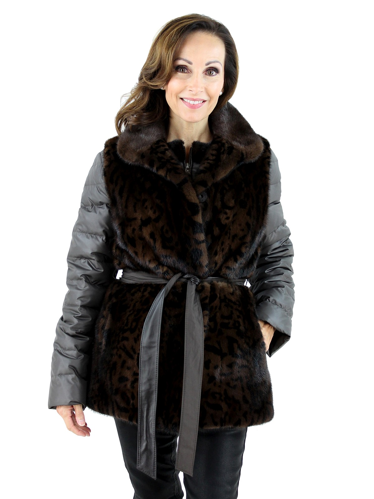 Gorski Woman's  Mahogany Animal Print Mink Fur Vest