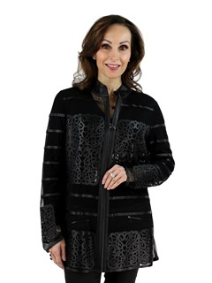 Woman's Black Leather and Mesh Jacket