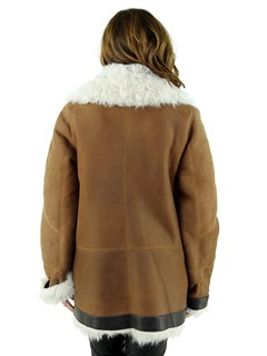 Woman's Cognac and Ivory Shearling Lamb Jacket