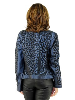 Woman's Pacific Blue Leather and Black Sheer Fabric Jacket