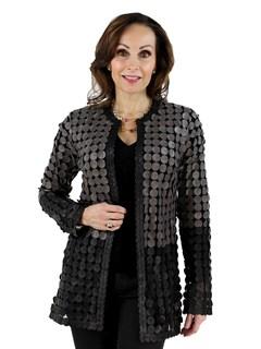Black and Cobblestone Leather Mesh Jacket