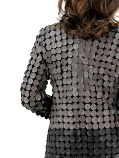 Woman's Black and Cobblestone Leather and Mesh Jacket