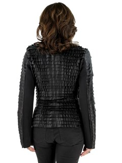 Woman's Black Leather Stretch Ruffle Zipper Jacket