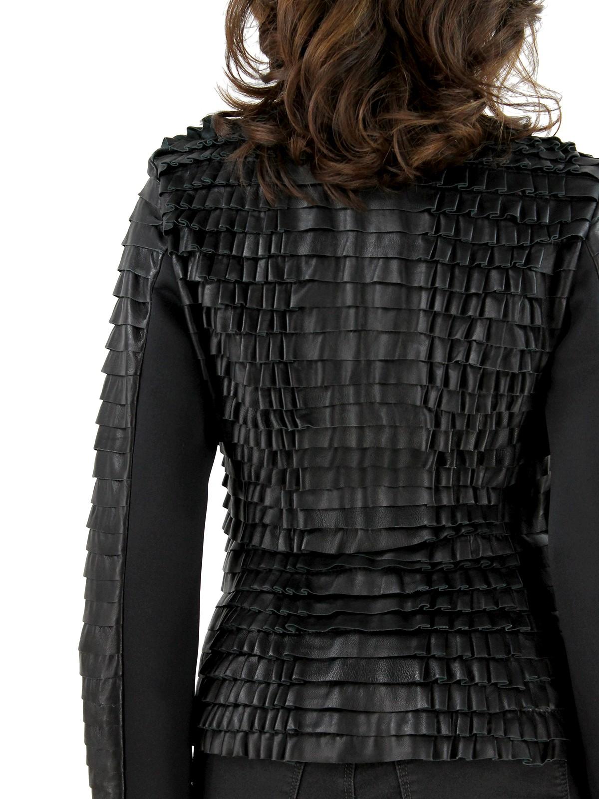 Black Leather Stretch Ruffle Zip Jacket