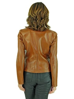Woman's Black and Cognac Leather Reversible Zipper Jacket