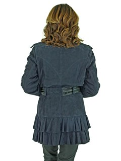 Woman's Navy Suede Belted Jacket with Black Leather Trim