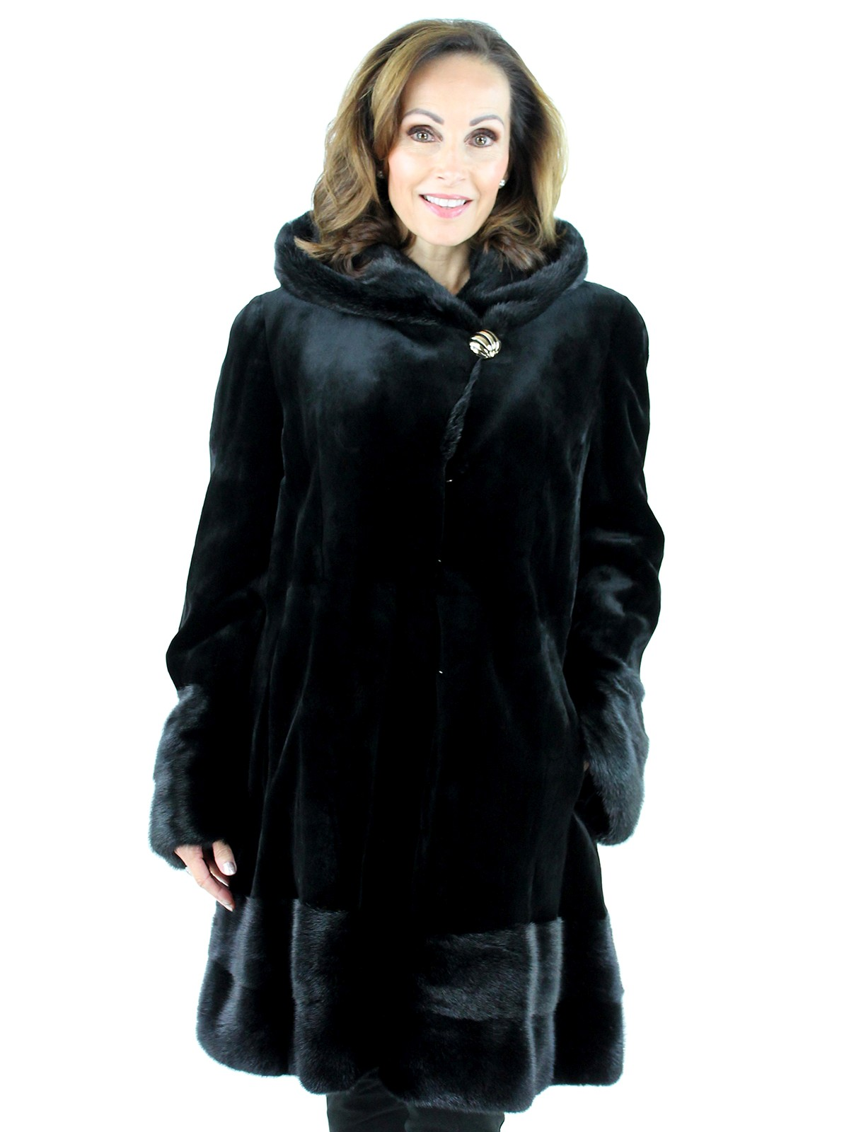 Black Sheared Mink Coat with Traditional Mink Accents