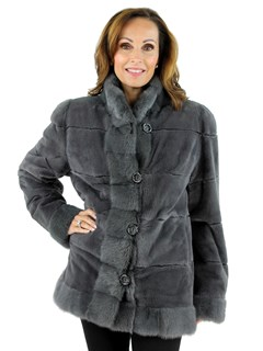 Woman's Grey Sheared Mink Fur Jacket