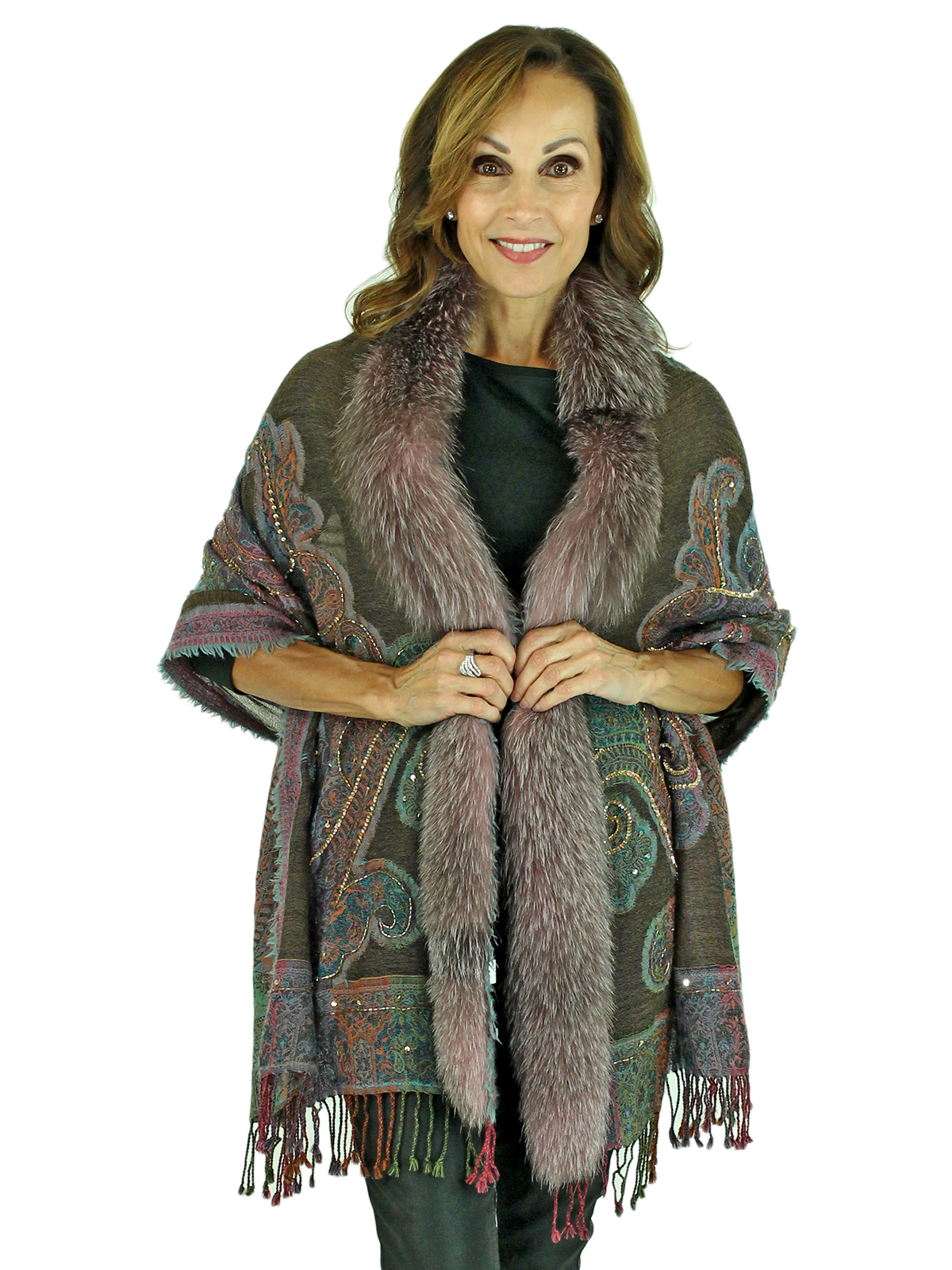 Woman's Multi Colored Woven Wool Shawl with Fox Trim