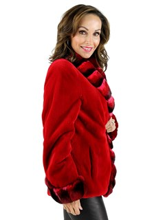 Red Sheared Mink Jacket with Chinchilla Collar