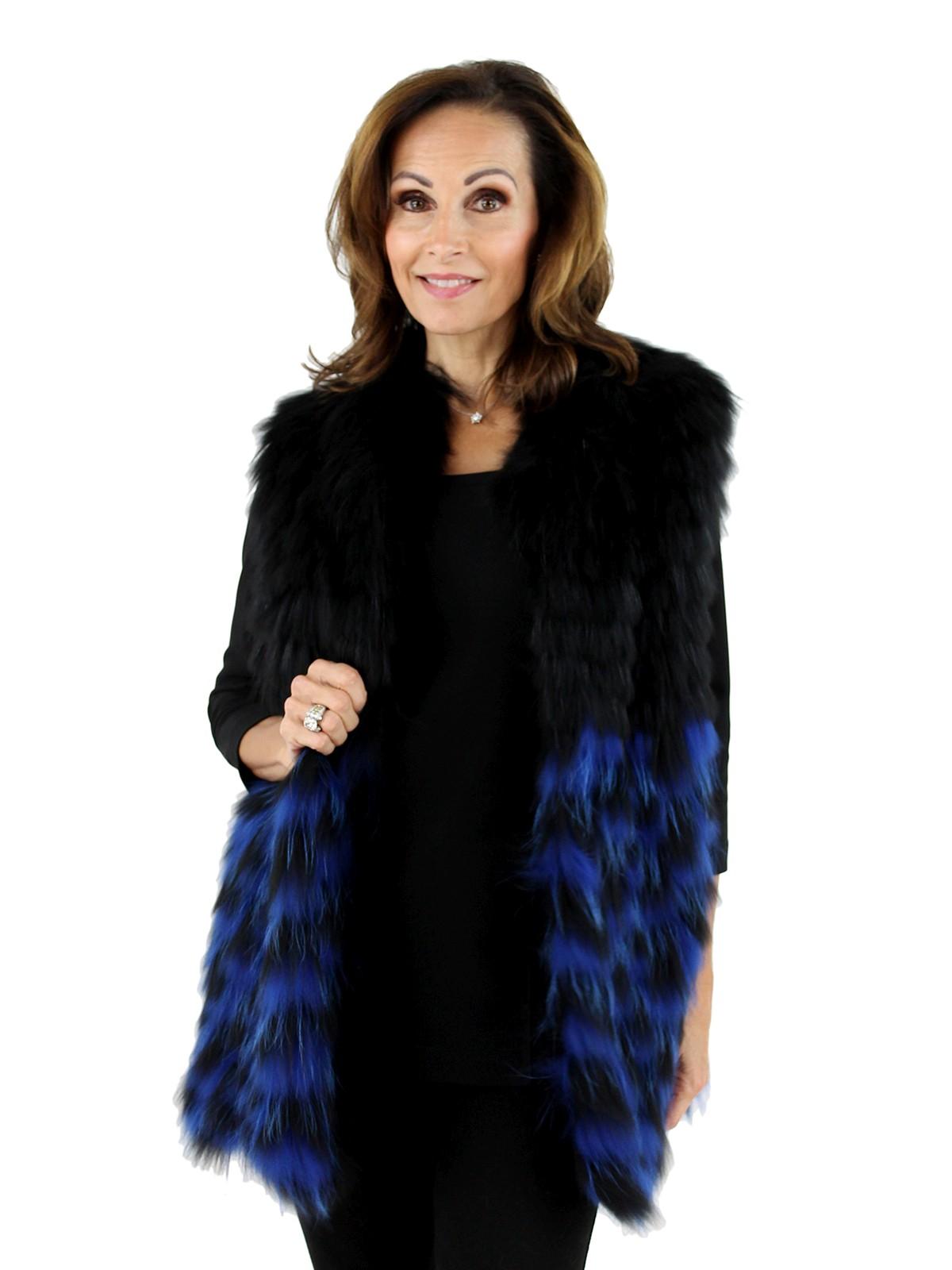 Woman's Blue and Black Finn Raccoon Fur Vest