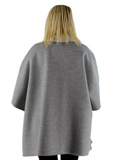 Gorski Woman's Grey Wool Cape with Rex Rabbit Fur Trim