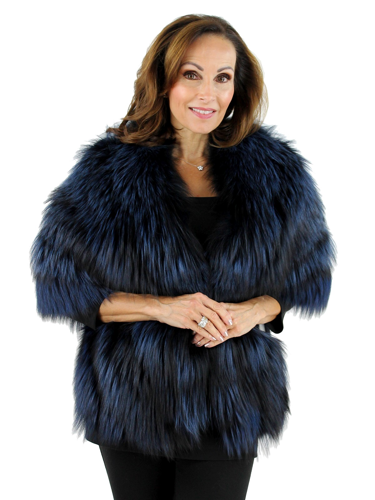 Gorski Woman's  Midnight Blue Silver Fox Fur Stole