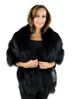 Gorski Woman's Black Silver Fox Fur Stole