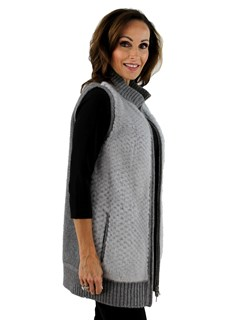 Gorski Woman's Grey Punched Mink Vest