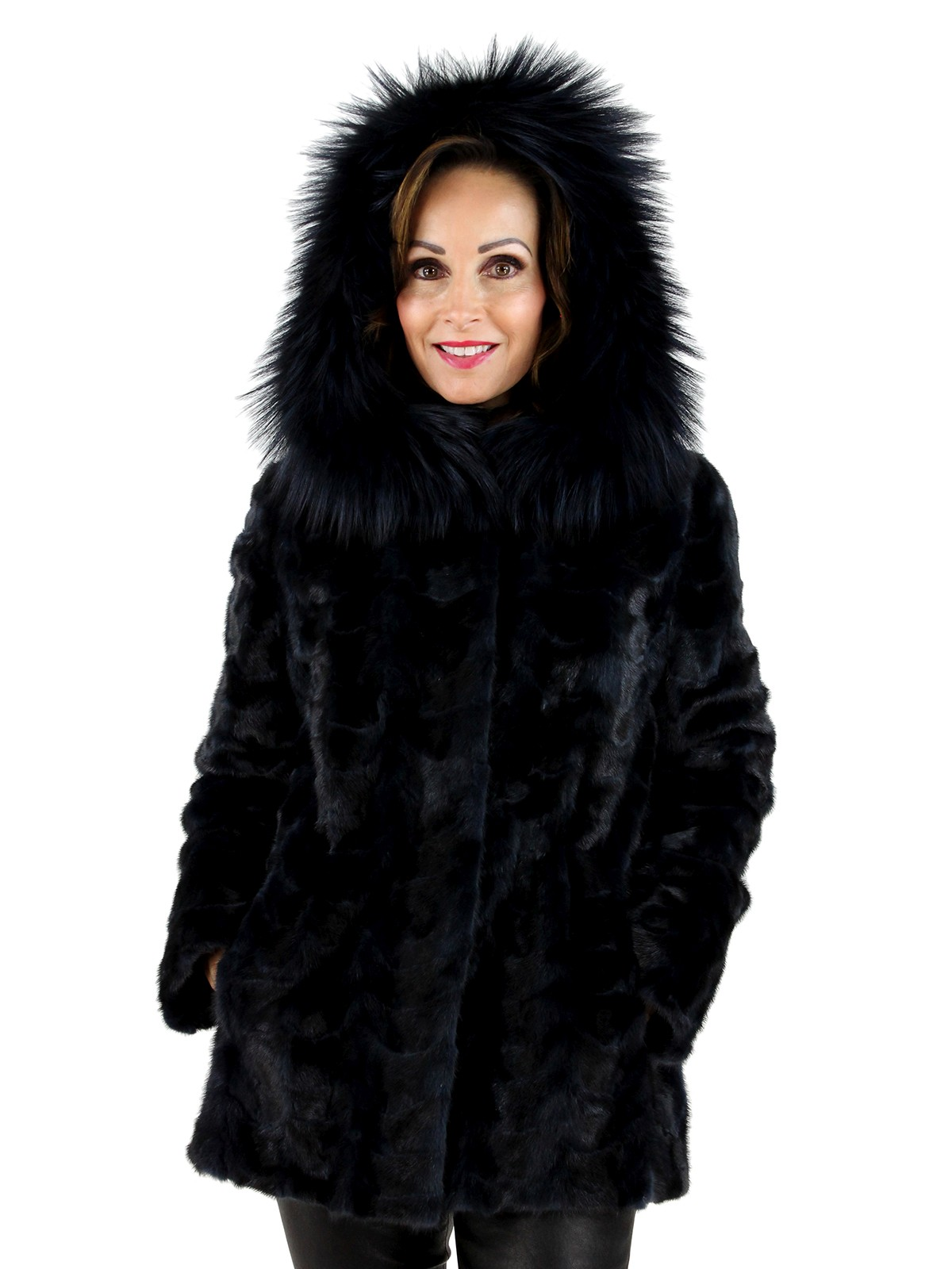 Navy Blue Mink Scalloped Jacket with Fox Hood