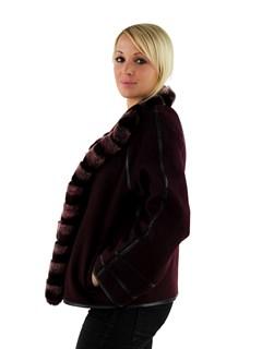 Woman's Berry Cashmere Wool Jacket with Rex Rabbit Fur Trim
