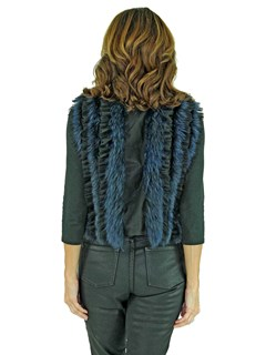 Woman's Black Chiffon Fabric and Indigo Dyed Fox Fur Fashion Vest