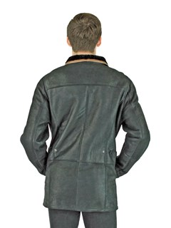 Man's Jet Iron Black Leather and Shearling Lamb Jacket