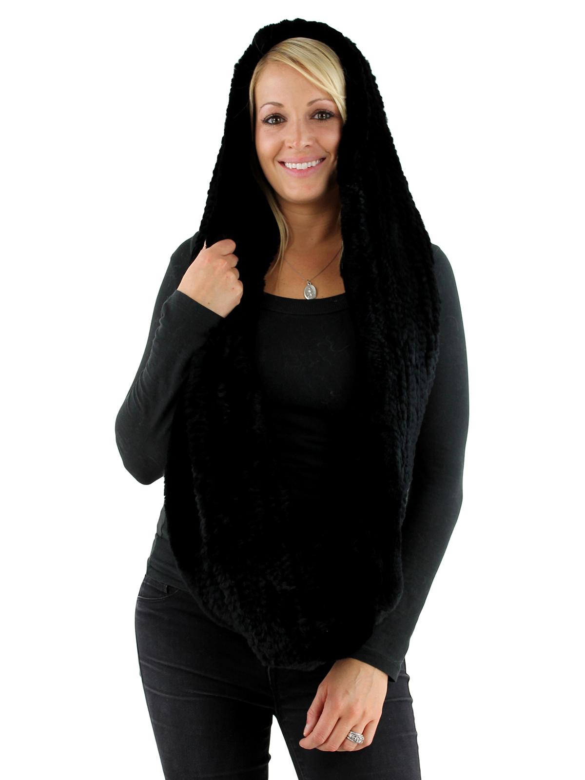 Black Rex Rabbit Fur Infinity Neck Warmer with Hood