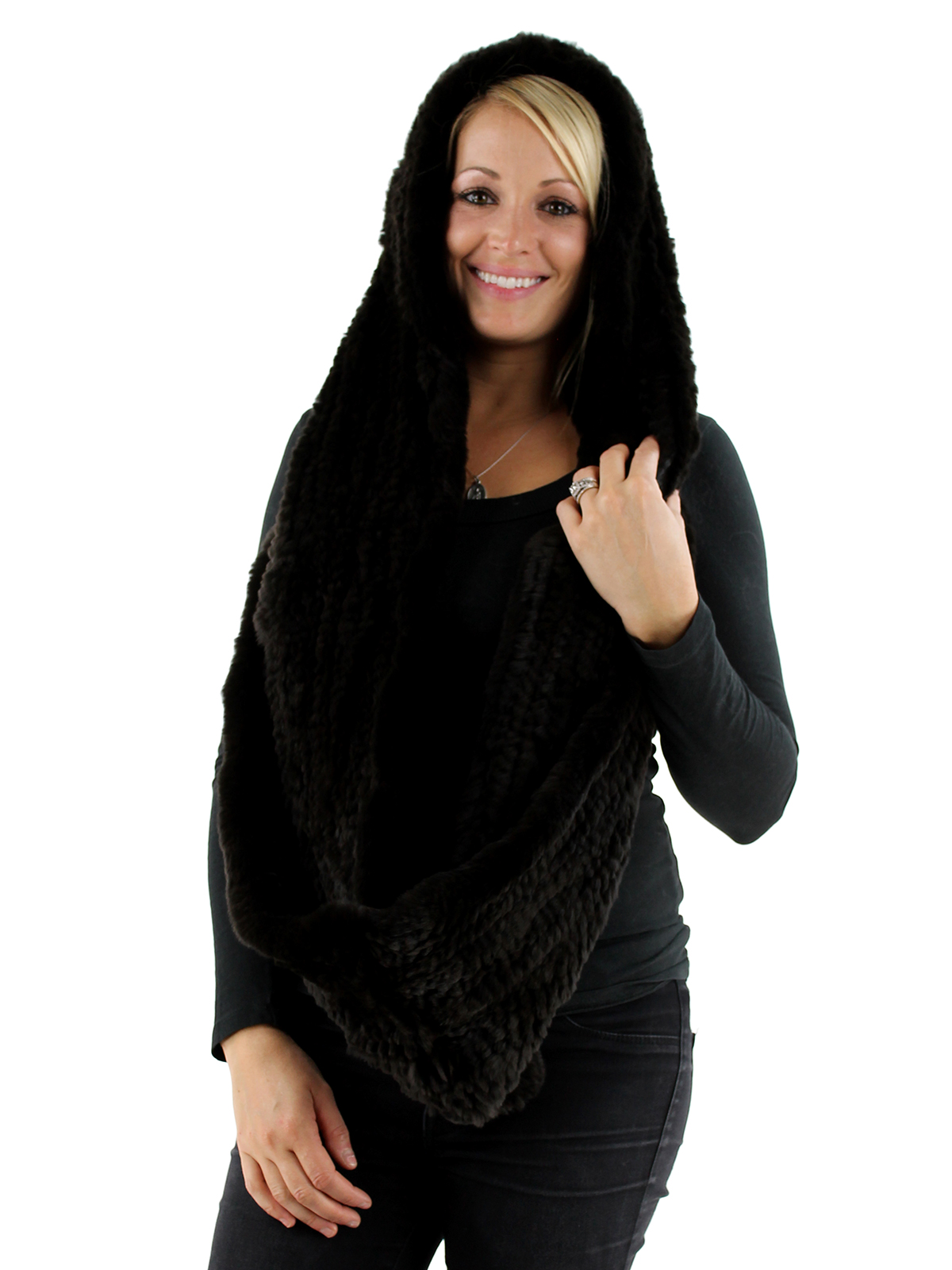 Brown Rex Rabbit Fur Infinity Neck Warmer with Hood
