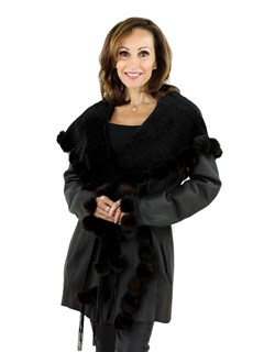 Women's Brown Reversible Hooded Astra Shearling Jacket with Mink Fur Ball Trim