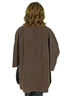 Woman's Chocolate Brown Suede Leather Cape